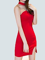 Для женщин На каждый день Для клуба Секси Простое Уличный стиль Облегающий силуэт Оболочка Платье Однотонный,На одно плечо Мини Выше