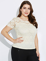 Women's Lace Casual/Daily / Plus Size Fall Blouse,Solid Round Neck Short Sleeve Blue / Pink / White / Beige / Black Polyester Translucent