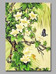 Pintados à mão Vintage Vertical,Formal Rústico Moderno/Contemporâneo Escritório/Negócio Natal Ano Novo 1 Painel Tela Estampado For