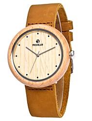 Homens Mulheres Relógio de Moda Relógio Madeira Japanês Quartzo de madeira Couro Legitimo Banda Pendente Casual Elegantes Marrom