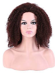 Mujer Pelucas sintéticas Sin Tapa Largo Afro Rizos Jheri Marrón Para mujeres de color Corte a capas Peluca natural Peluca de fiesta