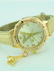 Жен. Модные часы Наручные часы Кварцевый Стразы Кожа Группа Эйфелева башня Повседневная Черный Белый Синий Оранжевый Зеленый Золотистый
