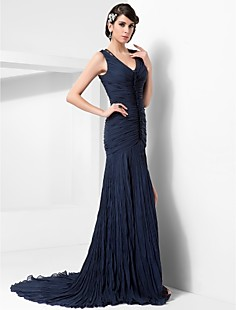 Sheath/Column V-neck Court Train Chiffon Evening Dress