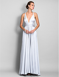 A-line Straps Floor-length Satin Chiffon Evengin Dress (682738)