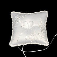 Memorable Treasures Satin Wedding Ring Bearer Pillow With Embroidery