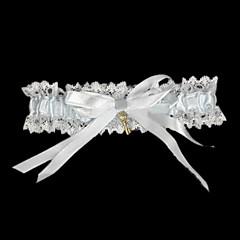 Strømpebånd Satin Blonde Sløjfeknude Bånd Hvid