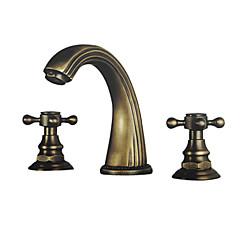 Traditionell 3-Loch-Armatur Zwei Griffe Drei Löcher in Antikes Messing Waschbecken Wasserhahn