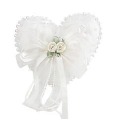 Blumen und Perlendekor glatte Satin Ehering Kissen (0802-whc007)