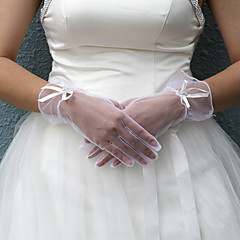 Wrist Length Fingertips Glove Satin Bridal Gloves Spring / Summer / Fall / Winter Bow