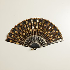 Black Peacock Design Hand Fan