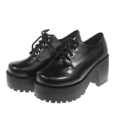 Sapatos Lolita Clássica e Tradicional Lolita Salto Alto Sapatos Cor Única 7 CM Preto Para Feminino Couro PU/Couro de Poliuretano