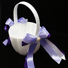Flower Girl Basket With Double Ribbons And Faux Pearl