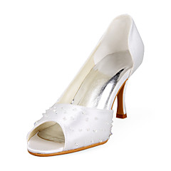 Satin Upper Stiletto Heel Peep Toe With Beading Wedding Shoes More Colors Available