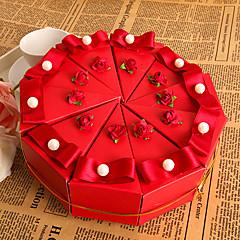 červený květ dort prospěch box s perlou (sada 10)