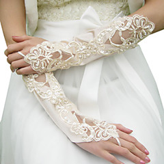 Elbow Length Fingerless Glove Satin Bridal Gloves Spring / Summer / Fall / WinterBlack / Red / Blue / Champagne / Green / Purple /