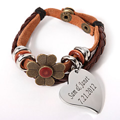 lager armband med blomma och personlig charm