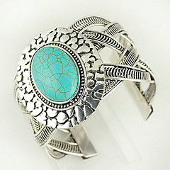 turkos och silverlegering ovala manschetten armband