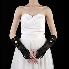 Elbow Length Fingerless Glove Satin Party/ Evening Gloves Spring / Summer / Fall Beading