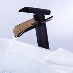 Zeitgenössisch Becken Wasserfall with  Keramisches Ventil Einhand Ein Loch for  Bronze mit Ölschliff , Waschbecken Wasserhahn