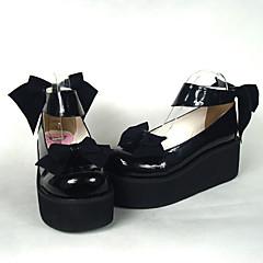 נעליים לוליטה מתוקה נסיכות עקב גבוה נעליים סרט פרפר 6.5 CM עבור עור פוליאוריתן
