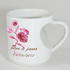 Personalized Mugs with Heart Shaped Handle - Rose Theme
