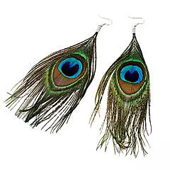 Pendientes colgantes Pluma Tejido Legierung estilo de Bohemia Moda Pluma Pavo real Verde Oscuro Joyas Fiesta