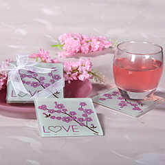 Cherry Blossom Love Glass Coasters (set of 2)