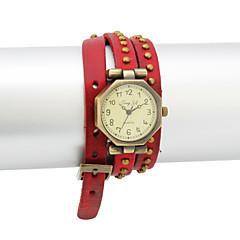 Dames PU Quartz Glas ronde vorm Dress horloge