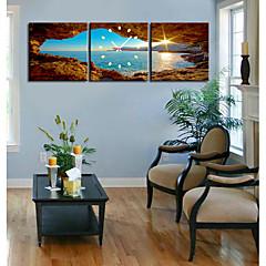 moderne landschappelijke wandklok in canvas set van 3