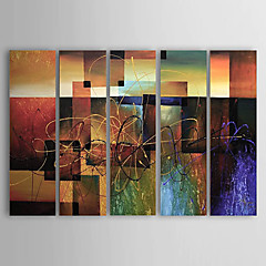 Handgeschilderde Abstract Olie schilderijen,Klassiek / Modern Vijf panelen Canvas Hang-geschilderd olieverfschilderij For Huisdecoratie