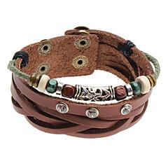 Beads Crystal Rivet Leather Bracelet