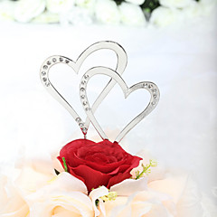 Cake Topper Non-personalized Hearts Anniversary / Bridal Shower / Wedding Rhinestone Silver Classic Theme PVC Bag