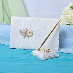 Wedding Guest Book And Pen Set With Seashell Sign In Book