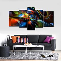 moderne abstrakte Wanduhr in Leinwand-Set von 5