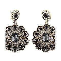 Dark Golden Sunflower Gem-Studded Resin Earrings