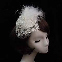 Women's Lace Feather Rhinestone Imitation Pearl Net Headpiece-Special Occasion Fascinators