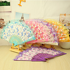 Beautiful Floral Plastic Hand Fan - Set of 4(Mixed Colors,Mixed Floral Pattern)