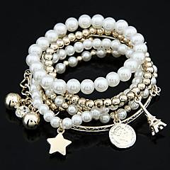 女性 ラップブレスレット 真珠 合金 ユニーク ファッション ジュエリー ゴールド ホワイト シルバー ジュエリー 1個