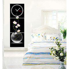 moderne stil pink blomstret vægur i canvas 3stk
