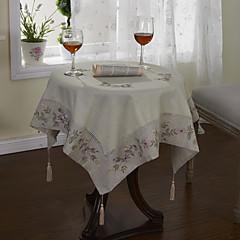 Classic White Cotton Linen Blend Floral Tischdecken