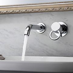 Zeitgenössisch Wandmontage Einzigen Handgriff Zwei Löcher in Chrom Waschbecken Wasserhahn