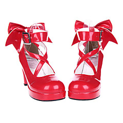 Lolita Shoes Sweet Lolita Lace-up High Heel Shoes Bowknot 7 CM Red For Women Patent Leather