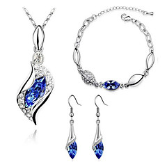 Women's Jewelry Set Drop Earrings Pendant Necklaces Bracelet Crystal Imitation Diamond Basic Fashion Costume Jewelry Crystal Rhinestone