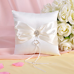 Ring Pillow In Ivory Satin With Rhinestones And Sash
