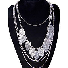 Women's Pendant Necklaces Statement Necklaces Leaf Alloy Tassel Fashion Bohemian Multi Layer Long Oversized Jewelry ForParty Special