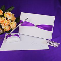 ספר אורחים חתונה ועט שנקבעו בסאטן עם סימן אבנט כחול בספר