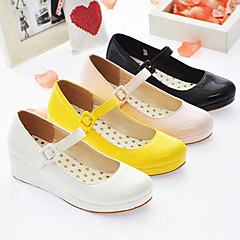 Lolita Shoes Sweet Lolita Princess Wedge Heel Shoes Solid 3 CM White / Black / Pink / Yellow For Women PU Leather/Polyurethane Leather