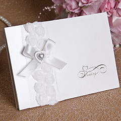 Wedding Invitation With Heart Pearl and Bow - Set of 12 (More Colors)