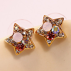MISS U Women's Gold Stars Diamond Gold Earrings