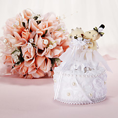 Music Box Wedding Ring Pillow Con Orso E Faux Pearl